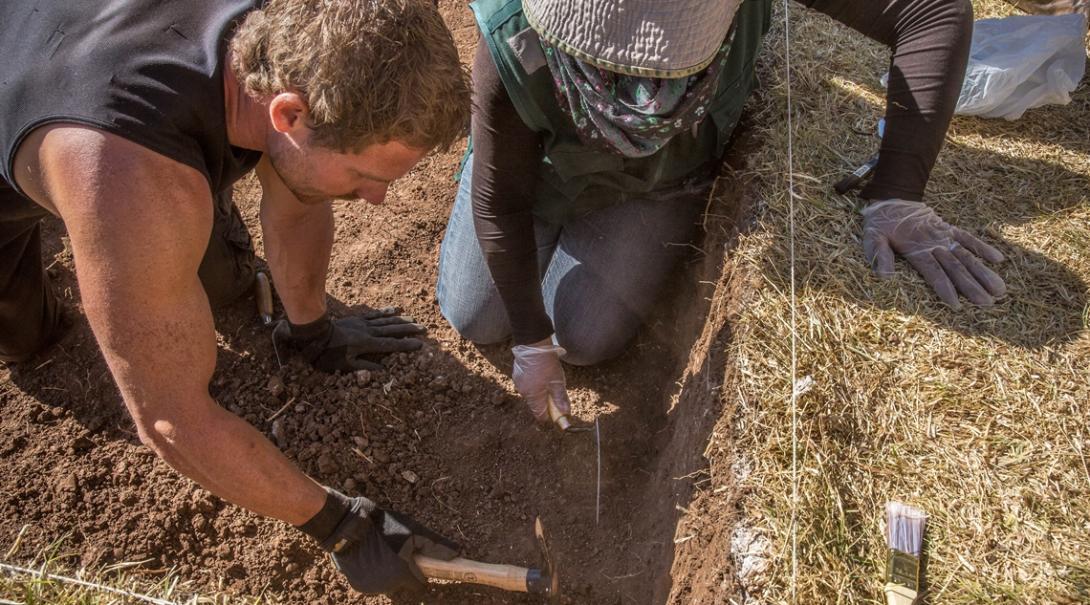 国立公園で遺跡発掘作業に取り組む考古学ボランティアたち
